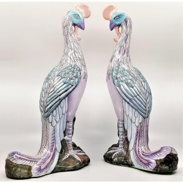 Extra-Large Chinese Porcelain Ceramic Phoenix Bird Sculptures or Figurines - a Pair For Sale In Miami - Image 6 of 13