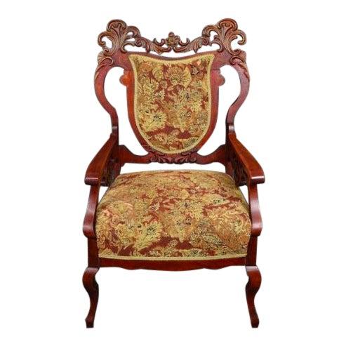 Antique Old World Ornately Carved Shield Back Arm Chair Burgundy Floral Tapestry For Sale