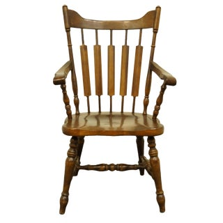 Late 20th Century Temple Stuart Rockingham Maple Cattail Back Dining Arm Chair For Sale