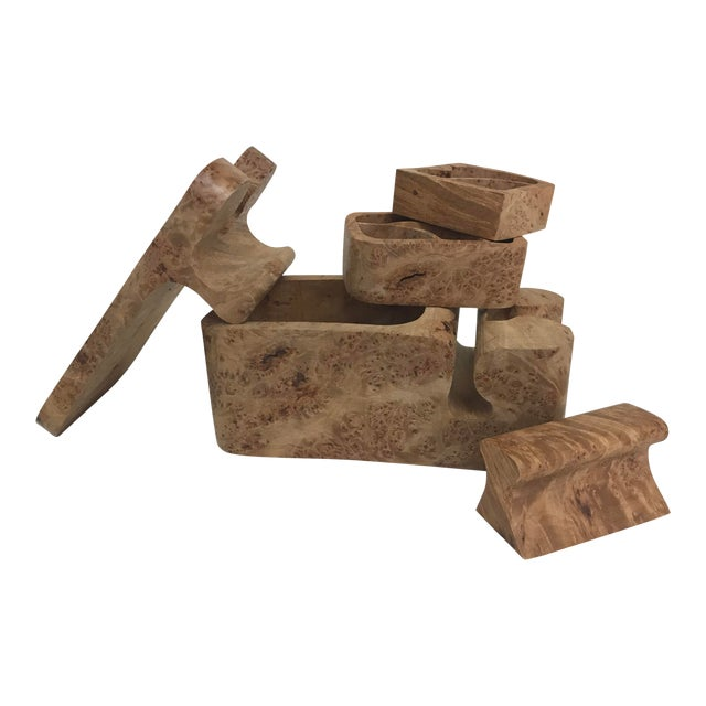 Burl Wood Puzzle Box - 5 Pieces For Sale