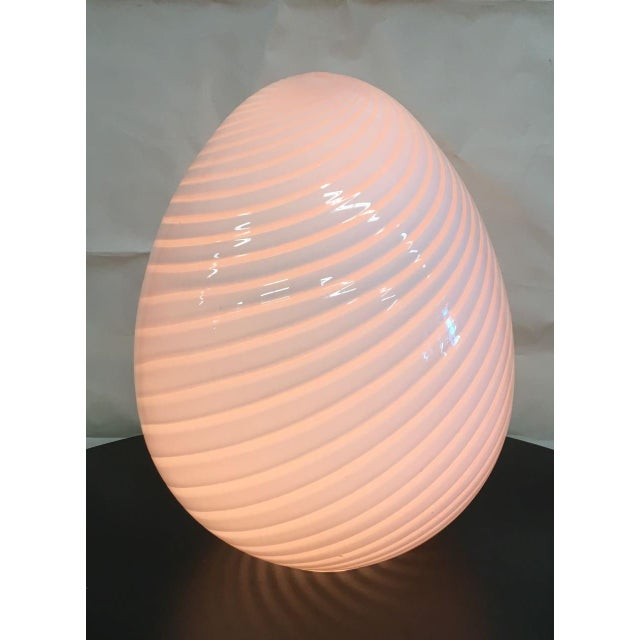 Italian Vintage Murano Glass Egg Lamp For Sale - Image 3 of 6