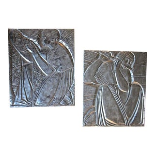 Deco Style Silver Gilt Plaster Relief Wall Panels - a Pair