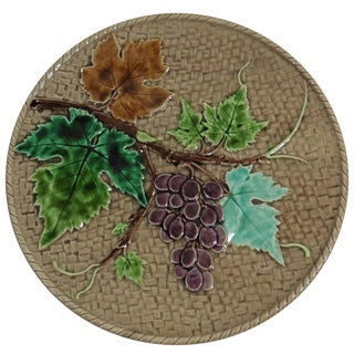 19th Century Majolica Lunéville Grapes Plate For Sale