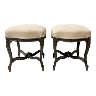 Pair of Carved French Ottomans For Sale