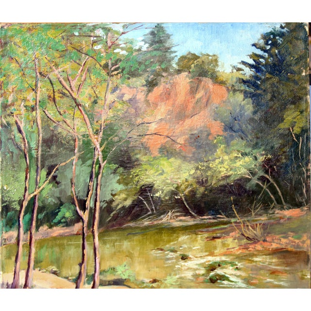 Country 1950s Vintage California Forest and Stream Painting For Sale - Image 3 of 4