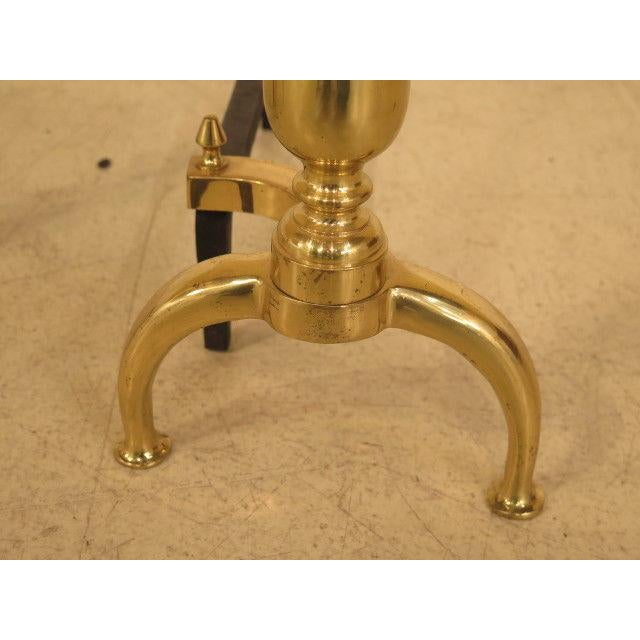 Federal Style Brass Fireplace Andirons - a Pair For Sale - Image 4 of 10
