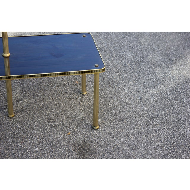 Gold 1940s Art Deco Mahogany and Brass Gueridon Side Table For Sale - Image 8 of 13