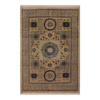 1990s Southwestern Mamluk Clint Ivory/Blue Wool Rug - 6'9 X 9'10 For Sale