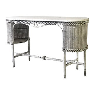 Early 20th Century Wicker Console Table, Attributed Heywood-Wakefield For Sale