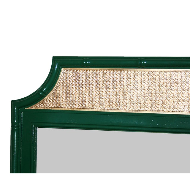 Vintage Green & Gold Faux-Bamboo Mirror - Image 4 of 5