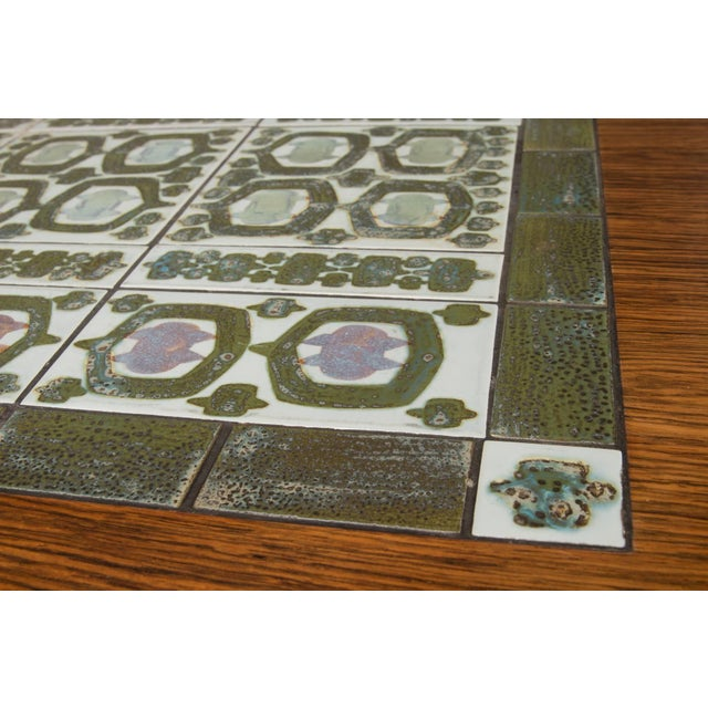Rosewood and Green Tile Coffee Table For Sale In Boston - Image 6 of 10