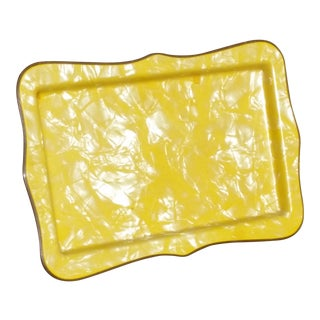 Wonderful Yellow Bakelite Mid-Century Cocktail Tray - Like New - Sunflower Yellow W/Marble Finish