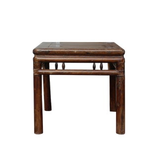 Chinese Handmade Vintage Finish Square Wood Stool Table For Sale