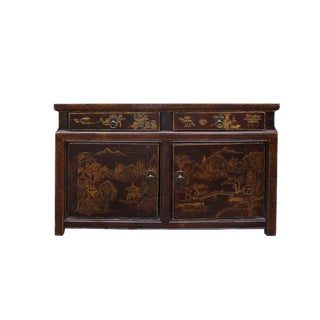Chinese Distressed Brown Floral Motif Low Table Cabinet For Sale