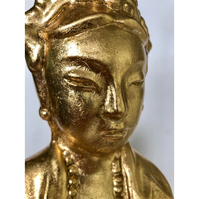 Large Gold Leaf Chinoiserie Guan Yin Lamp For Sale - Image 4 of 13