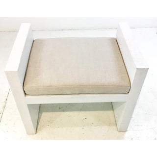 Bungalow 5 Modern White Lacquered Raffia H-Bench Preview