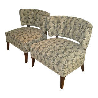 1950's Slipper Chairs, New Donghia Upholstery - a Pair