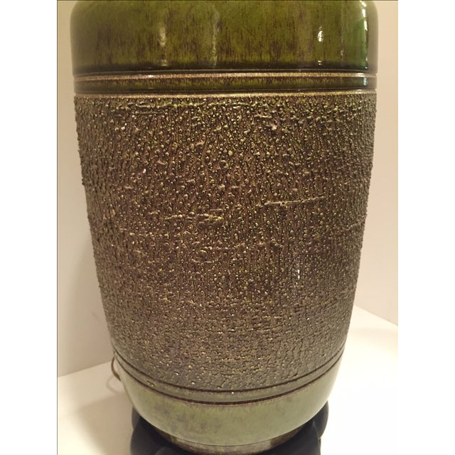 Vintage Green Glazed Lamp - Image 6 of 6