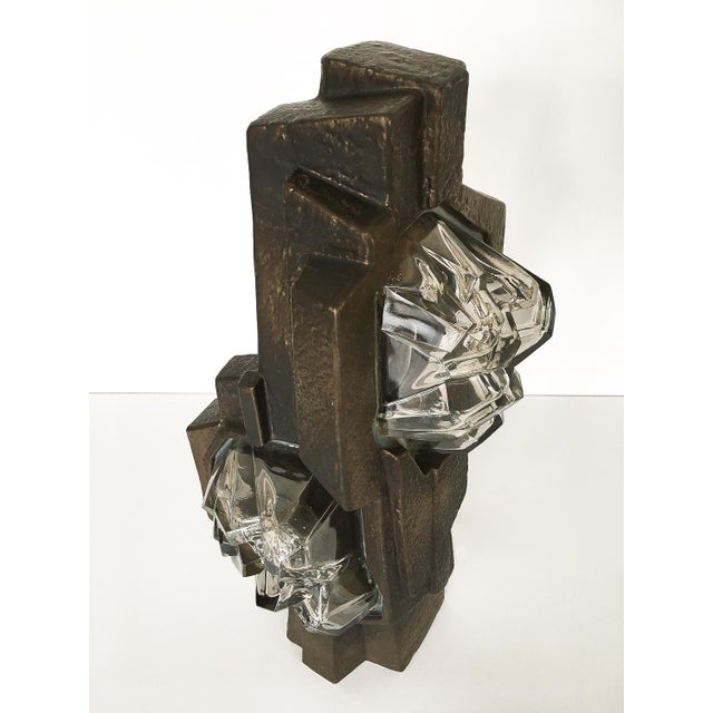 Brutalist Sculptural Rock Crystal Formation Ceramic and Glass Table Lamp For Sale - Image 10 of 13