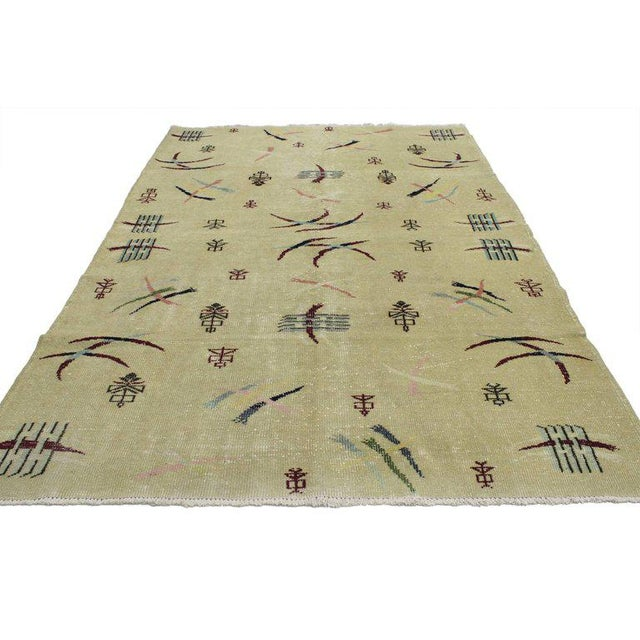 52019, distressed vintage Turkish Sivas rug with Industrial rustic Asian chic style. Rustic Asian and Industrial style...