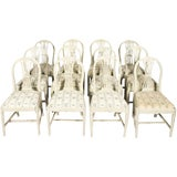 Image of Late 19th Century Grey Painted Gustavian Dining Chairs- Set of 12 For Sale