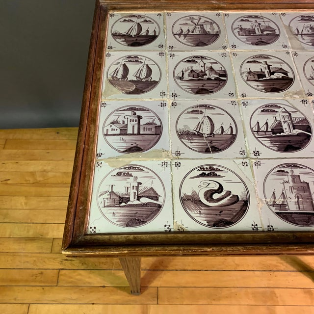 Ceramic 19th Century Louis XVI Style Table, Manganese Faiance Tiles For Sale - Image 7 of 10