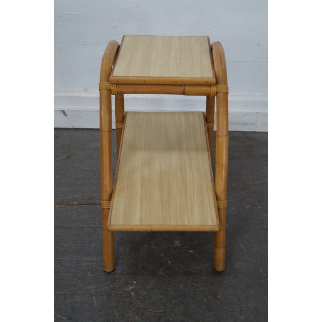 Vintage Vogue Rattan 2 Tier Side Tables - a Pair For Sale - Image 10 of 10