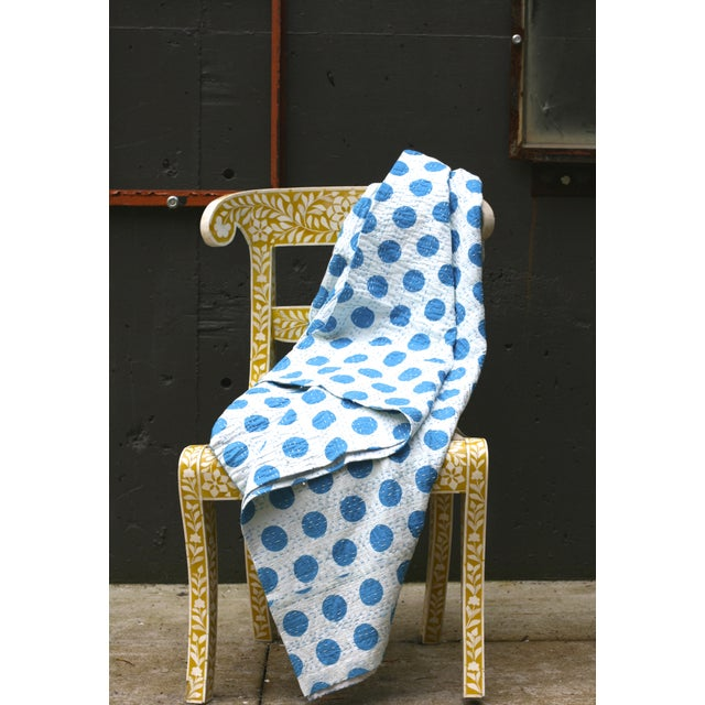 Blue Polka Dot Throw - A Full - Image 3 of 5