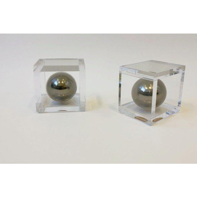 Modern Pair of Lucite and Chrome Bookends by Charles Hollis Jones For Sale - Image 3 of 7