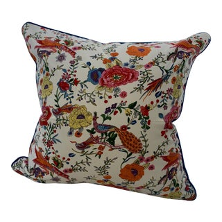 Pheasant & Floral Pillow Cover For Sale