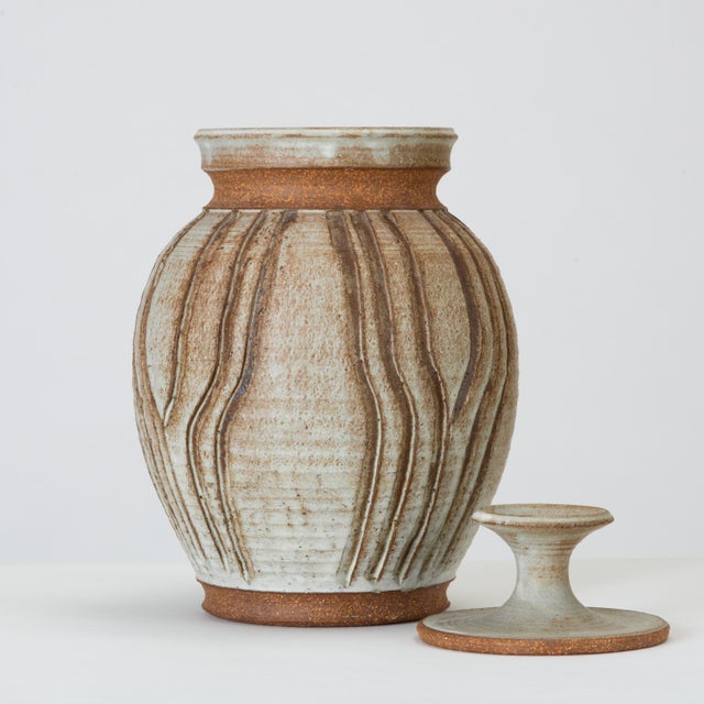 California Modern Incised Studio Pottery Vessel With Lid by Don Jennings For Sale - Image 4 of 13