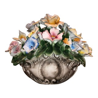 Vintage Large Capodimonte Flower Floral Centerpiece For Sale