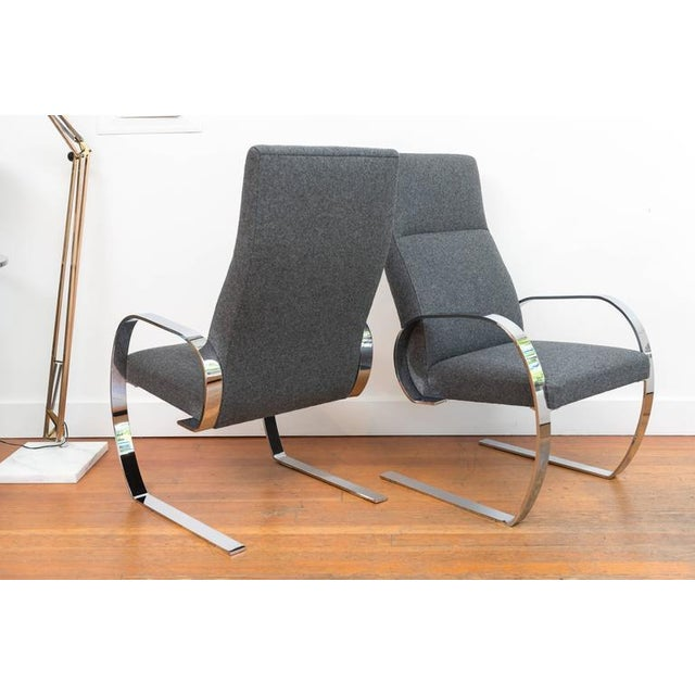 Chrome Gray Wool & Chrome Cantilever Armchairs - a Pair For Sale - Image 7 of 9
