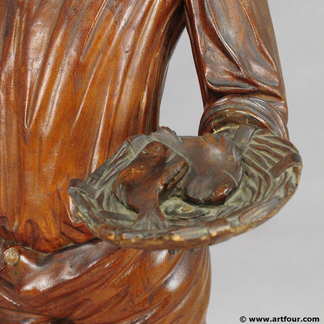 Antique Wooden Carved Statue Of A Young Fisherman For Sale - Image 4 of 9