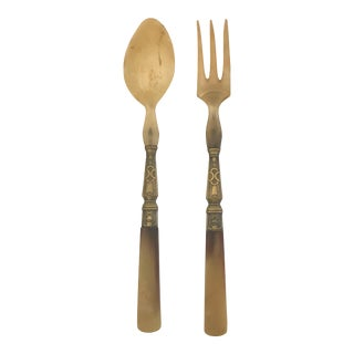 Art Deco French Horn and Brass Salad Servers - Fork and Spoon - a Pair For Sale