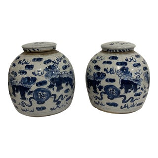 Ming Style Ginger Jars - a Pair For Sale