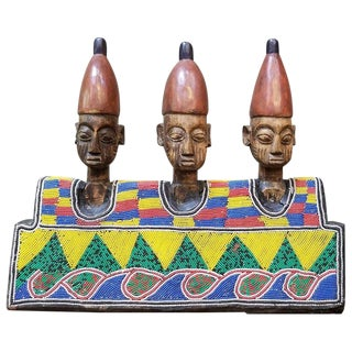 Hand Carved African Wood and Beaded Sculpture For Sale