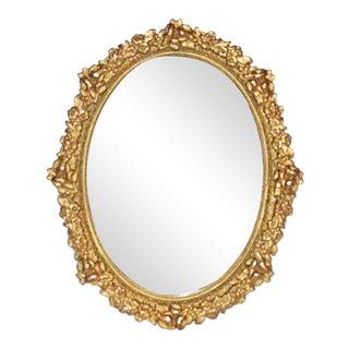 1930s Rococo Brass Miniature Desk Mirror Frame For Sale