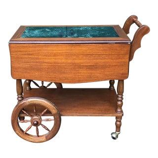 Vintage Victorian Teak Wood/Marble Inlay Tea Cart For Sale