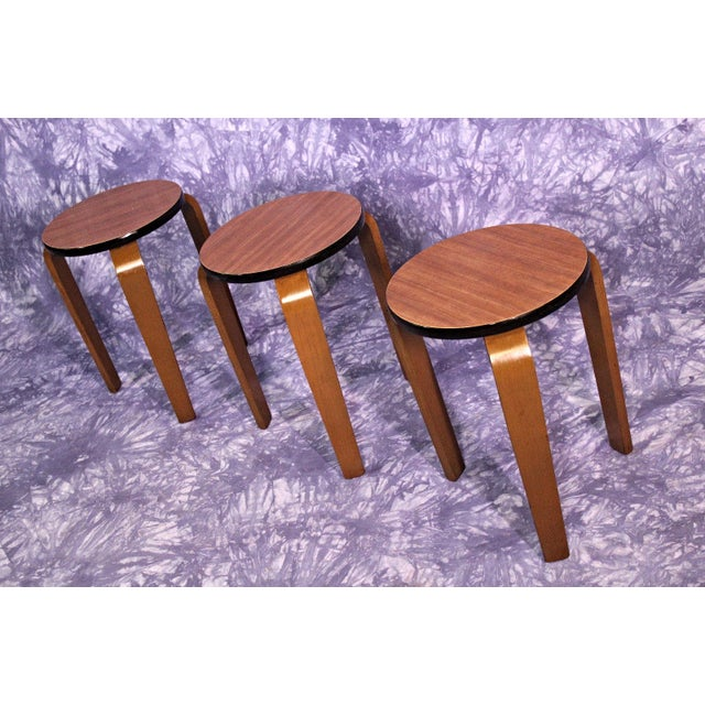 Wood James Mont Art Deco Nesting Tables - Set of 3 For Sale - Image 7 of 10