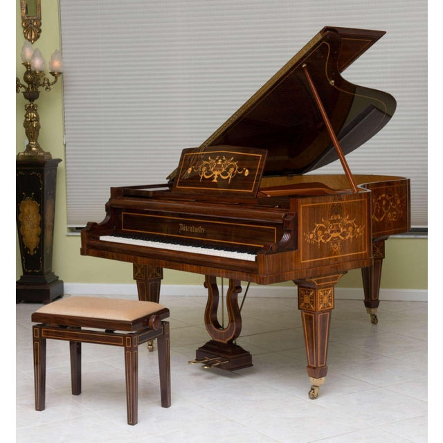 Neoclassical Revival Rare and Historically Significant Marquetry Inlaid Grand Piano, Bösendorfer For Sale - Image 3 of 8