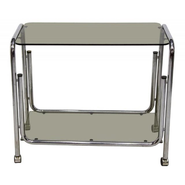 Italian mid century modern drink cart server made in Italy Handsome drink cart c. 1968 Features a clean design having...