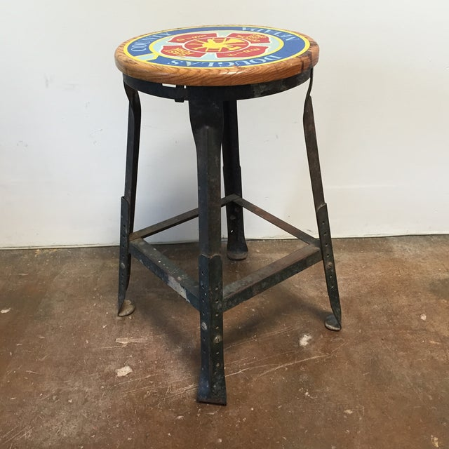 Vintage Industrial Firehouse Stool - Image 2 of 9