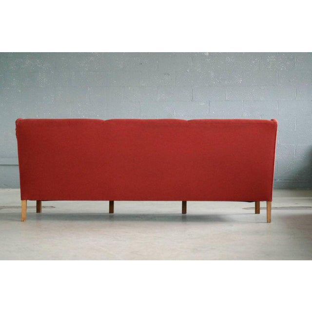 Kaare Klint Style Classic 1950 Danish Three-Seat Sofa by Master Frits Henningsen For Sale In New York - Image 6 of 8