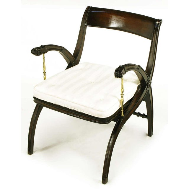 Mahogany and Brass Open-Back Armchair - Image 3 of 9