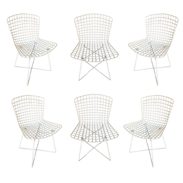 "White Bertoia Steel Wire ""X"" Base Side Chairs by Knoll - Set of 6 For Sale - Image 10 of 10"