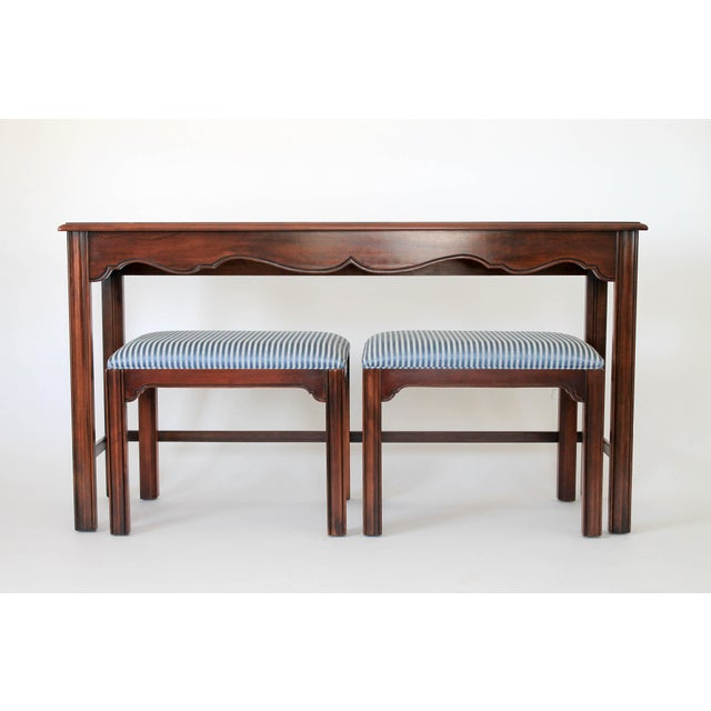 Drexel Heritage Console or Sofa Table W/ Benches - 3 Pc. Set For Sale - Image 11 of 11