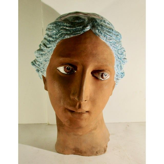 Italian Neoclassical Terracotta Woman's Head With Enamel Details For Sale - Image 10 of 10