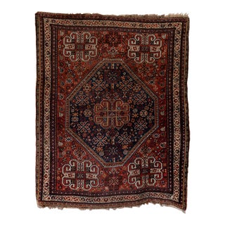 Antique Hand-Knotted Persian Qashqai Shiraz Rug- 6′ × 10′8″ For Sale