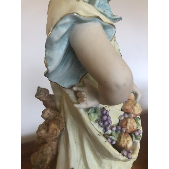 Large Antique Hand Painted Parian Porcelain Figure of a Girl For Sale - Image 9 of 13